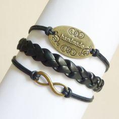 Brass Infinity Bracelet,Handmade Sign Bracelet,Friendship Bracelet - Gift Under 15 Love Bracelets, Handmade Bracelets, Leather Bracelets, Friendship Gifts, Friendship Bracelets, Black Faux Leather, Jewelry Accessories, Jewelry Ideas, Best Gifts