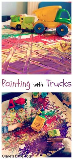 Painting with truck fun mark making and messy play idea for toddlers from the book Goodnight Goodnight Construction Site.