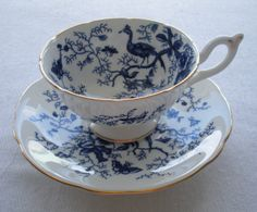 Coalport Bone China  Teacup  Coalport  Vintage Cobalt Blue Cairo Bird Pattern