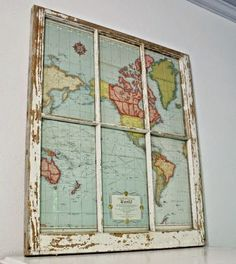Little Brags: Decorating With Old Windows. Would like to find an old Toronto map and do this or even a new one and age it. Hmmmm?