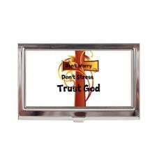 "Dont Worry-Stress Cross Business Card Case - Phil 4:6 says ""Do not be anxious about anything, but in everything, by prayer and petition, with thanksgiving, present your requests to God."""