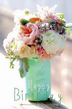 Floral Arrangement In Painted Blue Mason Jar Happy Birthday Greetings O Valor Da Vida