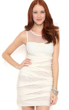 Deb Shops Short Bodycon Prom Dress with Illusion Neck and Glitter Shutter Skirt $36.75