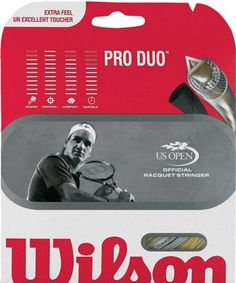 Wilson Pro Duo Tennis String Set by Wilson. $5.95. This string is super thin for maximum feel and spin.  Hybrid: 18 gauge Luxilon Timo 110 & 17 gauge Hollow Core Pro.  WRZ999600