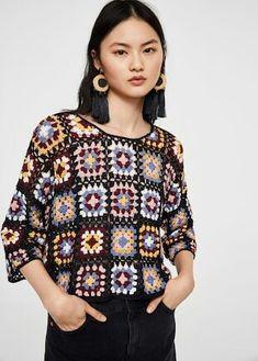 Free and Crochet Sweater Pattern! This Year Modern and Stylish Crochet Pattern Ideas Part 12 ; knitting sweaters for beginners; Pull Crochet, Mode Crochet, Crochet Fabric, Cotton Crochet, Crochet Granny, Knit Crochet, Crochet Bodycon Dresses, Black Crochet Dress, Crochet Jacket