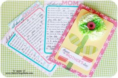 Free printables and directions for an adorable mothers day gift - it's a questionnaire that the kids can fill out and then you create a lovely card from it. Very sweet and I want some! lol Oh well. We'll make 'em for Grandma instead...