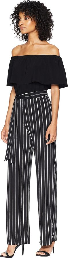5cfe9a01ced bebe Womens Off The Shoulder pin Stripe Jumpsuit Black 2 -- Learn more at  the image web link.