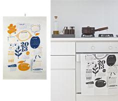 Kauniste's 2013 Kitchen Towel calendar. (black + white)