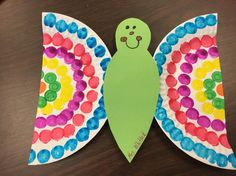 Made these cute butterflies with large paper plates and do a dots. Kindergarten ...