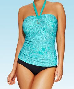 Another great find on #zulily! Turquoise Paisley Bandeau Tankini & Bottoms - Women & Plus by swimsuitsforall #zulilyfinds