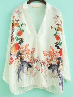 White V Neck Batwing Sleeve Floral: