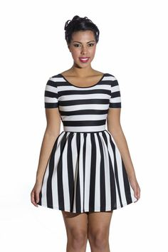 Stripe V Cut-Out Back Skater Dress $25.99 #dress #stripes #womensfashion