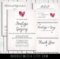 Country Wedding Invitation Suite  watercolor hearts by inoroutmedia, $55.00