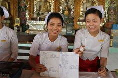 These young nurses in training keep meticulous records of every child who is meant to be vaccinated.