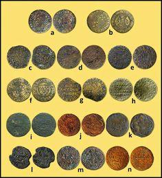 """Numisarchives. Numismatic. Jetons. Navarre: Jetones navarros acuñados para la administración de Carlos III """"el Noble"""" (1387-1425). a: 125; b: 127; c: 128; d: 131; e: 135; f: 132; g: 133; h: 134;  i: 139 (ejemplar hallado en Cliffe, península de Hoo, Kent, Inglaterra); j, k: 140; l, m: 141 (el ej. """"l"""", hallado en Blyth, Northumberland, Inglaterra); n: 142."""