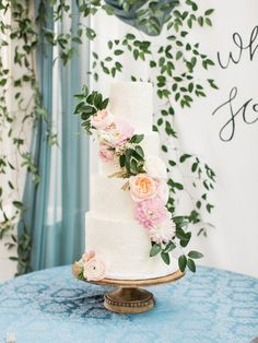 The Farmhouse Texas Wedding // Kristina and Kevin // Blue and Blush Wedding // Cake with Flowers // Erin Wilson Photography Blue And Blush Wedding, Blush Wedding Cakes, Wedding Cakes With Flowers, Wedding Cake Toppers, Peony Cake, Erin Wilson, Amazing Wedding Cakes, Southern Weddings, Wedding Website