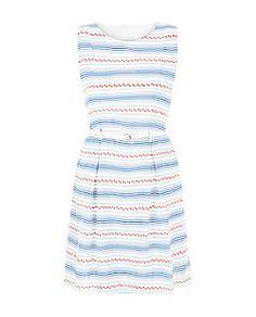 Tenki Blue Floral Stripe Belted Sleeveless Dress  | New Look