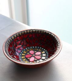 Mosaic Jewelry Keys Dish / Bowl  in Hot Cherry Red by MOSAICSnMORE
