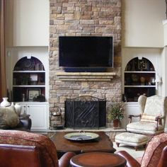 living room with tv above gas fireplace | Atlanta Living Room tv above fireplace Design Ideas, Pictures, Remodel ...