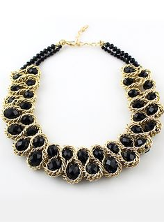 Shop Black Gemstone Gold Chain Necklace online. Sheinside offers Black Gemstone Gold Chain Necklace & more to fit your fashionable needs. Free Shipping Worldwide!