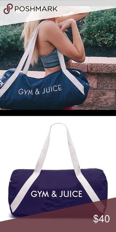 "GYM & JUICE [GYM BAG] Private Party GYM & JUICE [GYM BAG] by Private Party. Denim gym bag with cotton handles, outside zipper pocket & inside open pocket. Perfect for the gym, yoga, barre, spin, or everyday use. Dry Clean. Never taken out of the package. NEW Dimensions:  20"" x  9"" Bags"