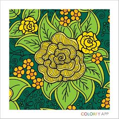 Coloring for adults - yellow roses for my mommy :)