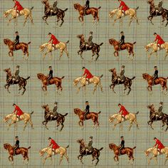 Equestrian Horse Plaid Fabric - Vintage Sport Horses By Ragan - Cotton Fabric By The Metre by Spoonflower Plaid Fabric, Cotton Twill Fabric, Fleece Fabric, Cotton Canvas, Equestrian Decor, Equestrian Style, Equestrian Bedroom, Equestrian Fashion, Horse Fabric