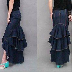 Charming-Denim-Multi-layers-Pleated-Maxi-Long-Bodycon-Swing-Fishtail-Skirt-S-XL