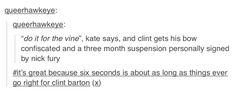 Hawkeye do it for the vine Clint Barton/Kate Bishop via tumblr