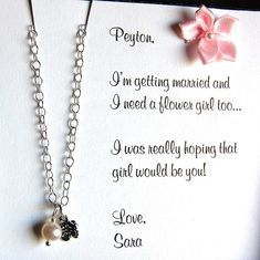 Flower girl necklace, will you be my flower girl necklace with custom card, Personalized gift set for your flower girl