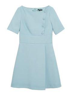 17f4487875a6 Robe pli portefeuille Turquoise - Tara Jarmon - Boutique en ligne TARA  JARMON