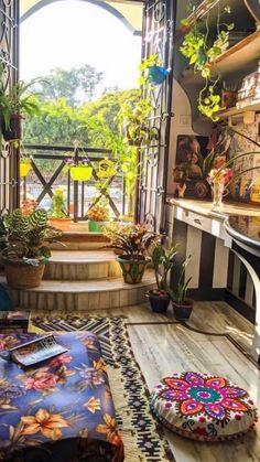 Bohemian Interior, Bohemian Decor, Bohemian Apartment, Vintage Interior Design, Sala Zen, Home Room Design, House Design, Zen Room, Colourful Living Room