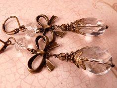 Brass Earrings Crystal Earrings Brass Jewlery by bluerosebeadery, $14.00