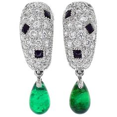 Cartier Panthere Onyx Emerald Diamond Gold Earrings | From a unique collection of vintage drop earrings at https://www.1stdibs.com/jewelry/earrings/drop-earrings/