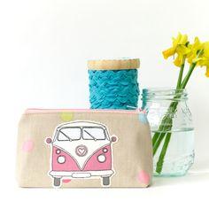 Makeup Bag VW Camper Bus Pink and Polka Dot Cosmetic Purse £15.00
