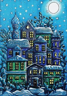 "Hanna Karlzon ""Winter Dreams"" coloring by Jessika L Chameleon with pens and uniball white pen Adult Coloring Book Pages, Colouring Pages, Coloring Books, Coloring Tips, Night Scenery, Relaxing Art, Hanna Karlzon, Markova, Colouring Techniques"