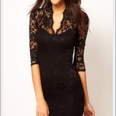 New black lace dress sheer sleeves and top. Small Gorgeous, comfortable and affordable black lace dress. No tags Dresses Mini