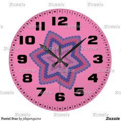 Pastel Star Large Clock