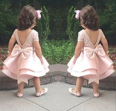 Lovely Puffy Pink Flower Girls Dresses For Wedding Satin Ruched Jewel New First Communion Kids Gowns Bow Top Quality Short Mini Pink Flower Girl Dresses, Baby Girl Party Dresses, Little Girl Dresses, Baby Dress, Girls Dresses, Flower Girls, Dress Party, Baby Birthday Dress, Birthday Dresses