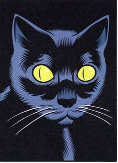 """glamourtramp: """" illustration by charles burns """"black cat magic"""" glamourtramp """" I Love Cats, Crazy Cats, Cool Cats, Comic Kunst, Comic Art, Art And Illustration, Pop Art Vintage, Vintage Drawing, Vintage Cat"""