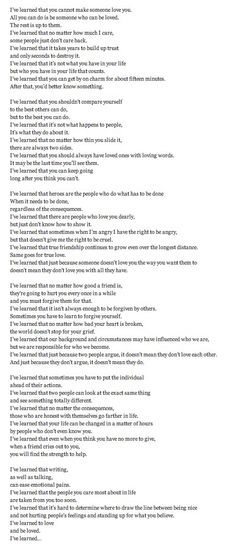 My favorite poem I've Learned by Omer B. Washington. It's long, but most certainly worth reading