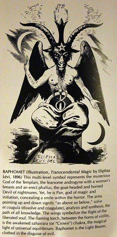 Baphomet:The Secret is Out.Satan is The God of Protestants,Novus Ordo Catholics,Muslims.Satan is The Lord and God of the Bible. Wiccan, Magick, Witchcraft, Pagan, Baphomet, Occult Symbols, Occult Art, Evil Art, Templer
