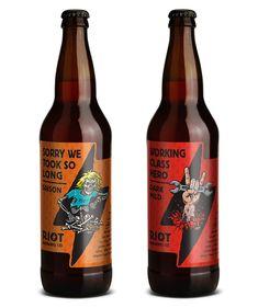 Riot Brewing Co. beer bottles