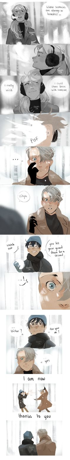 Yuri on ice/ Victor Nikiforov and Yuri Katsuki/ Victuri/ snowball fight/ #YOI