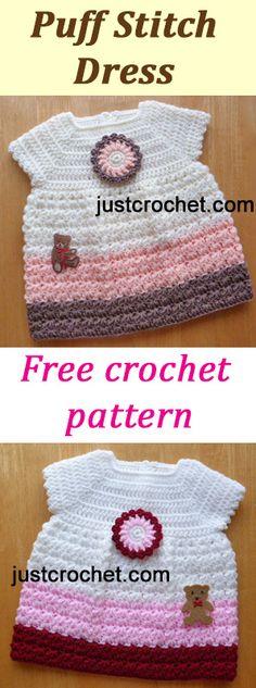 Puff Stitch Dress | free baby crochet pattern | #crochet