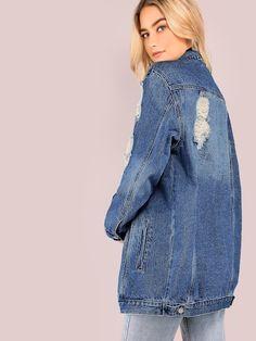 Bleach Wash Ripped Longline Denim Jacket [jacket181005400] - $56.00 : cuteshopp.com