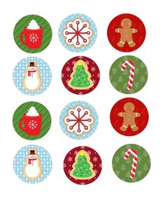 Precut Edible Christmas Cookie Toppers- available for cakes, cookies and cupcakes Christmas Stickers, Christmas Printables, Christmas Art, Christmas Ornaments, Small Cupcakes, Large Cupcake, Frosting Colors, Image Sheet, Christmas Sugar Cookies