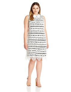 Adrianna Papell Women's Plus Size Collared Lace Shift with Striped Lining -- New and awesome product awaits you, Read it now  : Plus size dresses