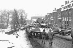 Sherman tank in Bastogne, 1944.