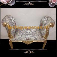 Brocante bankje the rose goud verguld bekleed met bloemprint